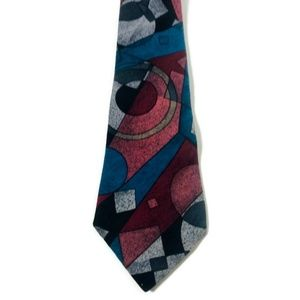 VTG BUGLE BOY Abstract Geometric Artsy Tie MOD 80s